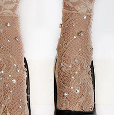 Embellished Rhinestone Lace Socks