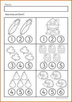 Autumn / Fall Math Worksheets & Activities No Prep Numbers Preschool, Learning Numbers, Preschool Learning, Kindergarten Worksheets, Teaching Math, Preschool Activities, Math For Kids, Fun Math, Kids Education