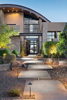 20 stunning contemporary landscape designs that will take your breath away . - 20 stunning contemporary landscape designs that will take your breath away – 20 stunning contempo - Modern Landscape Lighting, Modern Landscape Design, Garden Landscape Design, Landscape Plans, Modern Landscaping, Contemporary Landscape, Front Yard Landscaping, Landscaping Ideas, Contemporary Architecture