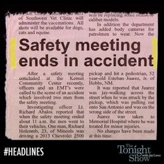 Uh-oh... Safety meeting ends in accident...   - from the Tonight Show