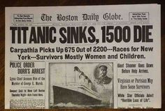 1912 Titanic Boston Daily Globe Newspaper Reprint