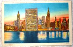 #Vintage #Linen #Postcard #UNITEDNATIONS #BUILDING #MIDTOWN #SKYLINE #NewYork #ArtProject #Crafting #Ephemera #Shop #eBay