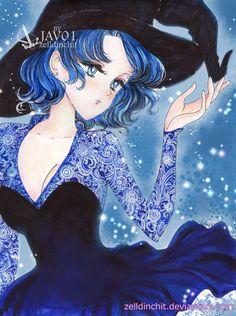 fanart sailor mercury ami mizuno from sailor moon special halloween ami mizuno special halloween Sailor Moon Drops, Sailor Moon Usagi, Sailor Pluto, Sailor Moon Art, Sailor Jupiter, Sailor Venus, Sailor Mars, Sailor Moon Halloween, Anime Witch