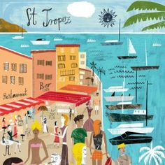 Travel illustration by Martin Haake Retro Poster, Poster Art, Art Deco Posters, Vintage Poster, Vintage Travel Posters, Vintage Postcards, Beach Illustration, Graphic Design Illustration, Saint Tropez