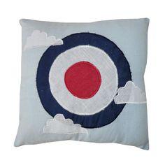 Vintage Plane Target Cushion 20cm Filled
