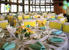 Yellow Sash Grey Weddings Aqua Wedding Gray Table Reception