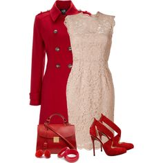 Red & nude, created by barbarapoole on Polyvore