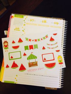 Watermelon Stand Collection Stickers  for Erin Condren Life Planner, Plum Paper Planner, Filofax, Kikki K, Calendar or Scrapbook by adrianapiper on Etsy