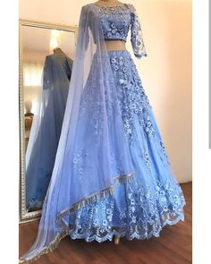Buy Elegant Blue Two Pieces Lace Appliques Scoop Sleeve Long Cheap Prom Dresses on sale.Shop prom or formal dresses from Promdress. Find all of the latest styles and brands in Junior& prom and formal dresses at SisaStore Indian Gowns Dresses, Indian Fashion Dresses, Dress Indian Style, Indian Designer Outfits, Pakistani Dresses, Designer Dresses, Indian Lehenga, Lehenga Choli, Blue Lehenga