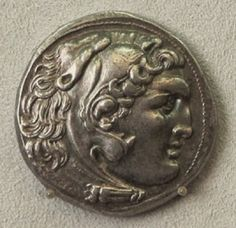 Silver tetradrachm of Alexander The Great.,circa 310-275 BC.  Alexander's portrait in the guise of Herakles wearing the skin of a lion's head. From Macedonia, Greece. Boden museum, Berlin.