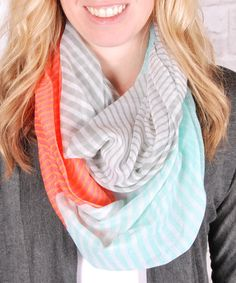 Another great find on #zulily! Coral & Turquoise Stripe Infinity Scarf #zulilyfinds