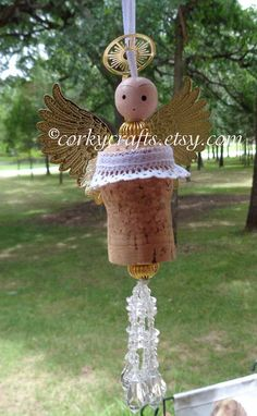 Pre Christmas Sale Angel tree ornament gift tag by Corkycrafts