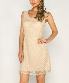 Taupe Lace Floral Scoop Neck Dress #zulily #zulilyfinds