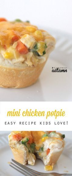 Kids will love these cute mini chicken potpies - even adults like them! Easy dinner recipe. #ad