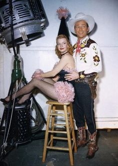 *Dale Evans and Roy Rogers,    between scenes at Republic Studio c. 1944 (a couple years before their marriage)
