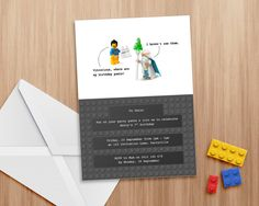 Lego party invitation - Editable and printable invite, suitable for use in Word or Pages. Lego theme. Print as many copies as you like. by MontyandMeInvites on Etsy