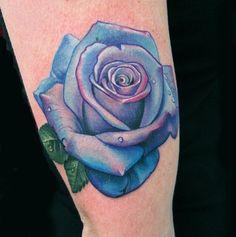 ... Tattoo Gathering : Tattoos : Portrait : Blue purple pink rose tattoo
