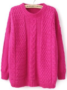 Friday look - a warm pink touch - Rose Red Long Sleeve Loose Cable Knit Sweater - Sheinside.com