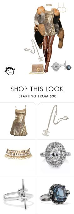 """""""After the party"""" by crushedrosepetals ❤ liked on Polyvore featuring Chanel, Amrita Singh, Mark Broumand, Noir Jewelry, Alexander McQueen and Louis Vuitton"""