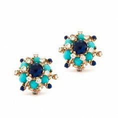 1960's Turquoise & Lapis Earrings