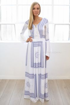 the jetset santorini dress - white/blue | Esther clothing Australia and America USA, boutique online ladies fashion store, shop global womens wear worldwide, designer womenswear, prom dresses, skirts, jackets, leggings, tights, leather shoes, accessories, free shipping world wide. – Esther Boutique