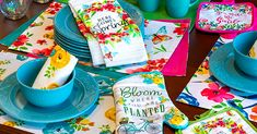 Spring Fling Dinnerware Collection | The Dollar Tree Blog Banquet Facilities, Big Spring, Scroll Pattern, Catering Companies, Scroll Design, Hoppy Easter, Stoneware Mugs, Easter Baskets, Dollar Tree