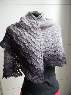 Carowiens' Stormy Skies version of the Holden Shawl (FREE PATTERN).