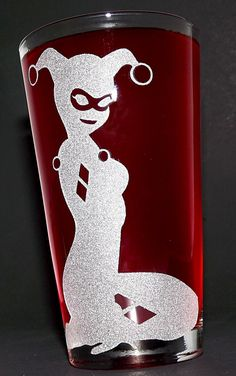 Sandblasted Harley Quinn Silhouette Etched Pint by PintSizedPixels 8f285098cb