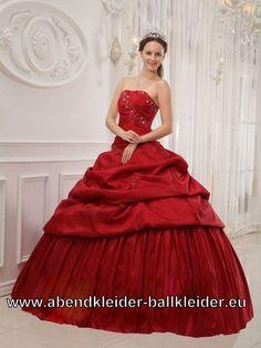 Weinrotes Sissi Kleid Ballkleid Brautkleid Dunkel Rot