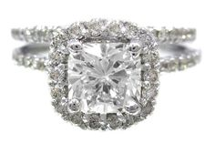 18k white gold cushion cut diamond engagement ring and band halo 1.79 on Etsy, $4,400.00