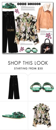 """H&M floral blouse"" by anne-irene ❤ liked on Polyvore featuring Dolce&Gabbana, H&M, STELLA McCARTNEY, HM, StellaMcCartney, gucci, floralblouse and darkflorals"