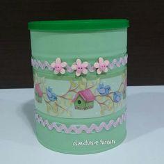 Lata reciclada lata decorada #reciclagem #artesanato