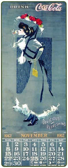 ¤ Coca cola 1912 november calendar. Signed HK // calendrier novembre 1912