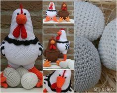 Crochet Chicken Katrien and Egg (paid) Pattern) English or Dutch Translation by StipenHaak.blogspot.com