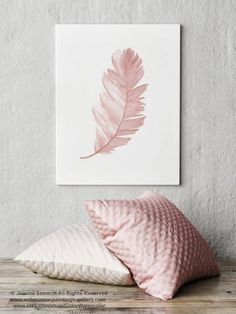 Feather Watercolour Painting Blush Pink Animal Illustration, Bird's Feather Poster Nursery Kids Wall Decor, Baby Girl Feathers Illustration Ursula Schömann … Kids Wall Decor, Canvas Wall Decor, Nursery Wall Decor, Art Decor, Bedroom Decor, Watercolor Feather, Watercolour Painting, Feather Drawing, Feather Illustration