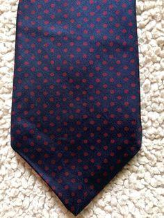"""Bert Pulitzer Silk Necktie Tie Navy Blue Red Polka Dots 3.5"""" Wide 57"""" Long #BertPulitzer #Tie"""