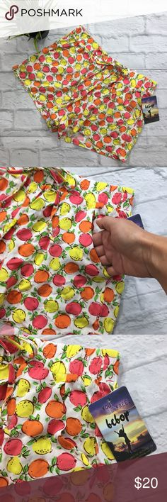 """BE BOP Summer Print Soft Shorts JR'S Med NWT BE BOP Summer Print Soft Shorts (A28) New With Tags  Cute whimsical citrus fruit print freshens up these comfortable soft shorts from Be Bop. •Mid rise; loose fit through hips and thighs •Pull-on styling; elastic waistband with faux drawstring •On-seam pockets •100% Rayon  Junior's SZ Med Measurements Laying Flat Waist 14"""" Inseam 2.7"""" Rise 10"""" BeBop Shorts"""
