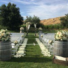 Ideas Garden Wedding Ceremony Aisle Wine Barrels For 2019 Wedding Ceremony Ideas, Outdoor Wedding Decorations, Outdoor Ceremony, Wedding Ceremonies, Outdoor Wedding Isle, Wedding Arches, Wedding Backdrops, Ceremony Backdrop, Wedding Reception