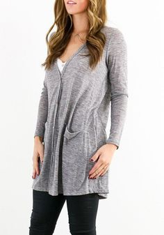 Grey Plain Pockets Long Sleeve Casual Cardigan Sweater | Gray