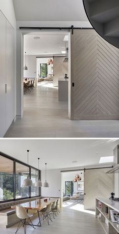 The chevron pattern on these sliding doors give the home a modern look and help divide the space when needed ✖️Back room doors inspo ✖️ Modern Sliding Doors, Interior Sliding Barn Doors, Sliding Barn Door Hardware, Modern Barn Doors, Door Hinges, Double Doors, Modern Entry, Sliding Room Doors, Door Latches