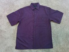 Bruno purple & black striped sueded Microfiber button down shirt, Large…