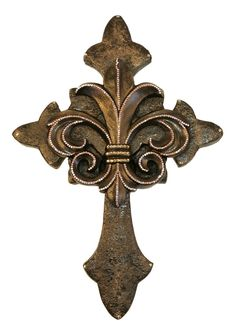 Decorative Wall Cross with Fleur de Lis Bronze with Gold Swarovski Crystals . http://reilly-chanceliving.com/collections/wall-decor/products/decorative-wall-cross-18-5x27-5-fleur-de-lis-bronze-with-gold-swarovski-crystals
