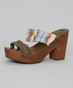 Park Lane: Khaki Wooden Heels   something special every day