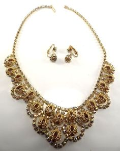 Vintage Necklace & earrings,goldtone,citrine glass beads encased in filigree,NR #necklaceandearringsset
