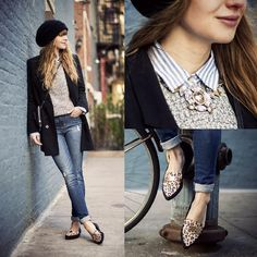 Abercrombie Striped Shirt, Abercrombie Knit Sweater, Abercrombie High Waisted Destroyed Jeans, Nasty Gal Shoe Cult Lucky Day Loafer - THE GR. Runway Fashion, Girl Fashion, Fashion Outfits, Womens Fashion, Style Fashion, Street Chic, Street Style, Preppy Style, My Style