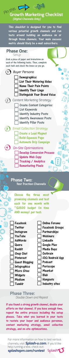Download this Growth Marketing Checklist, print it out, and hang it on your wall! Use the blog post on SplashU to help you understand how to test these traction channels.