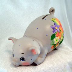 The perfect baby gift! Ceramic Piggy Bank by GrapeVineCeramicsGft on Etsy,