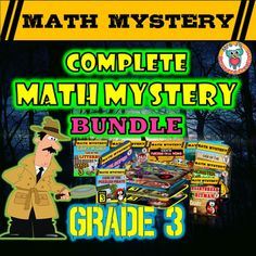 This complete math mystery bundle contains all of my math mysteries for Grade 3 up to date! Make math fun and exciting with these engaging activities that will motivate even some of your most reluctant learners.MULTIPLE USESUse as a classroom review activity, include in your math centers, leave for a sub, make them an early finisher task or set for homework assignments.Below are all of the Math Mysteries included in this bundle.
