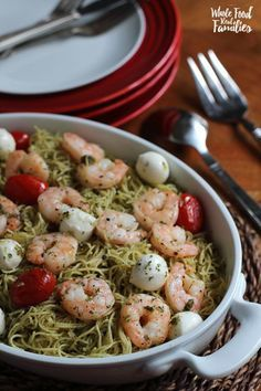 Easy Shrimp Pasta Caprese is my solution to dinner when there is no time to cook. Prepared pesto, shrimp that cooks in 3 minutes, and a box of pasta make the most decadent dinner ever. Go ahead, serve it for a dinner party – it is that good.  @wholefoodre