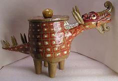 TIBETAN-DRAGON-FOLK-POT-Animal-Face-Jug-Spice-Jar-Effigy-Jar
